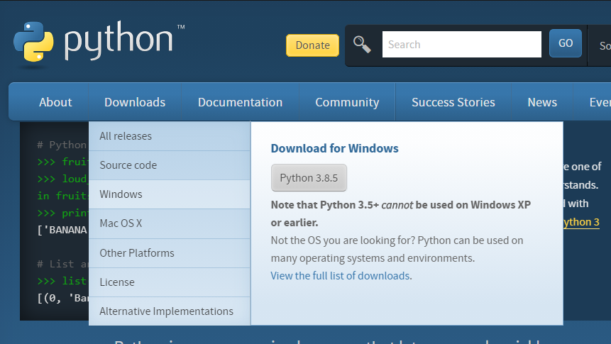 Официальный сайт Python