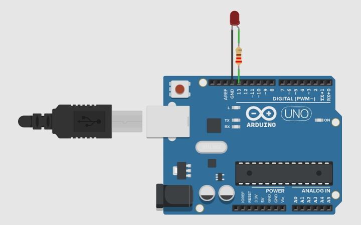 Схема подключения светодиода к плате Arduino