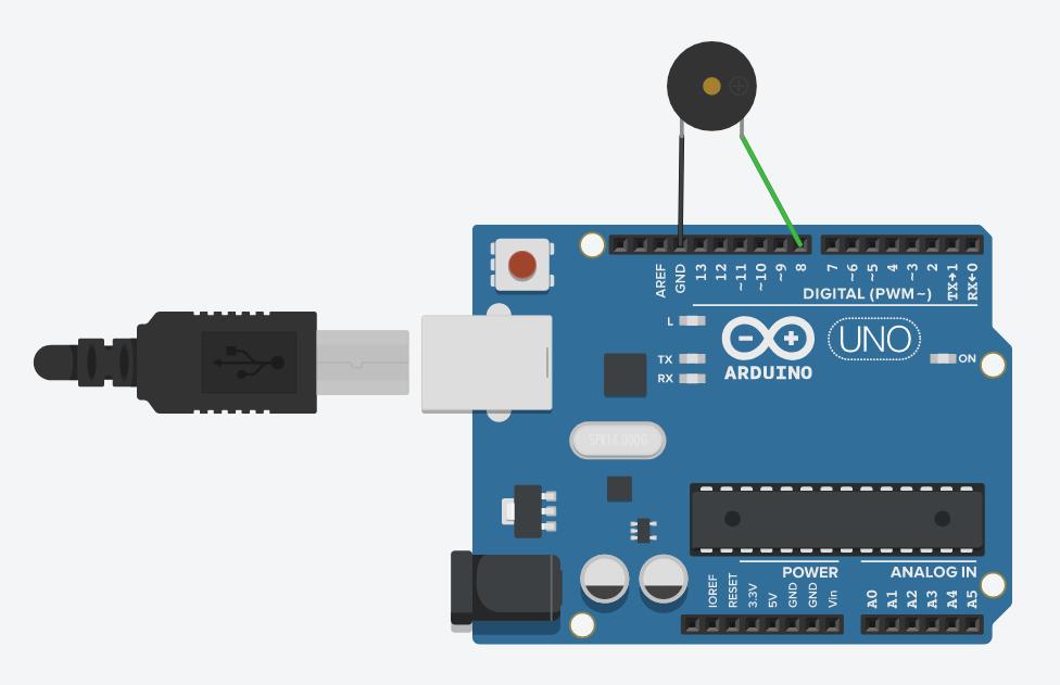 Схема подключения пьезопищалки к контроллеру Arduino