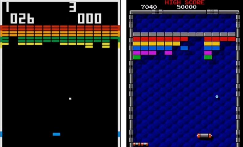 Игровой процесс арканоида на примере игр Breakout и Arkanoid