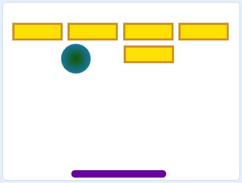 Вариант простой раскладки кирпичиков для уровня игры арканоид в Scratch