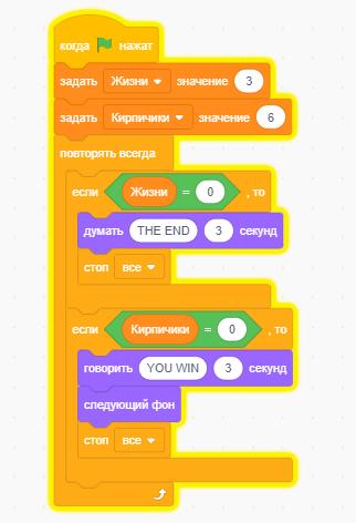 Скрипт на Scratch, который следит за переменными и останавливает игру