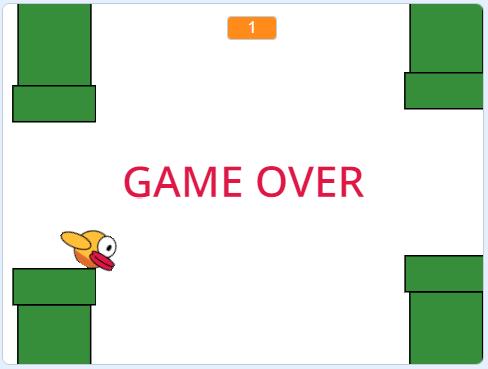 Game Over в игре Flappy Bird, созданной на Scratch
