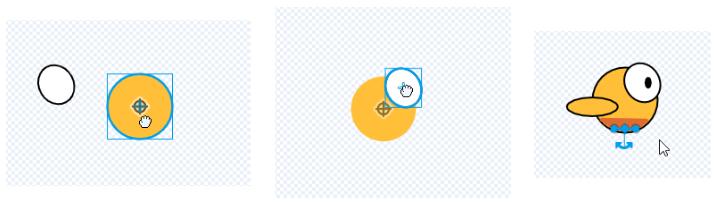 Собираем птичку из кружочков и палочек в редакторе спрайтов в Scratch