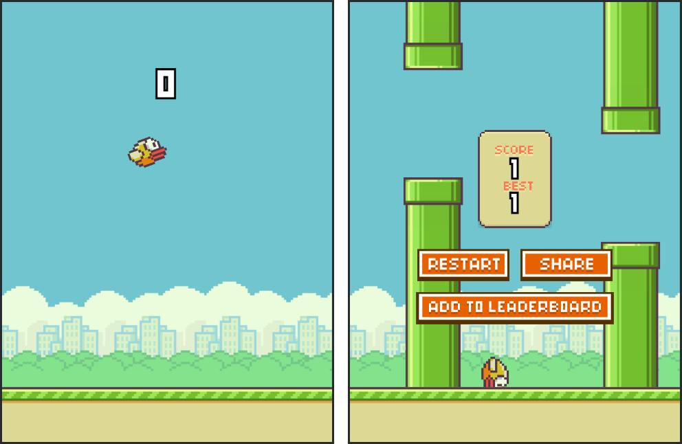 Игровой процесс Flappy Bird на примере одного из двойников проекта